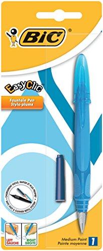BIC EasyClic Pluma Estilográfica Recargable Tinta Azul - colores Surtidos, Blíster de 1 Unidad
