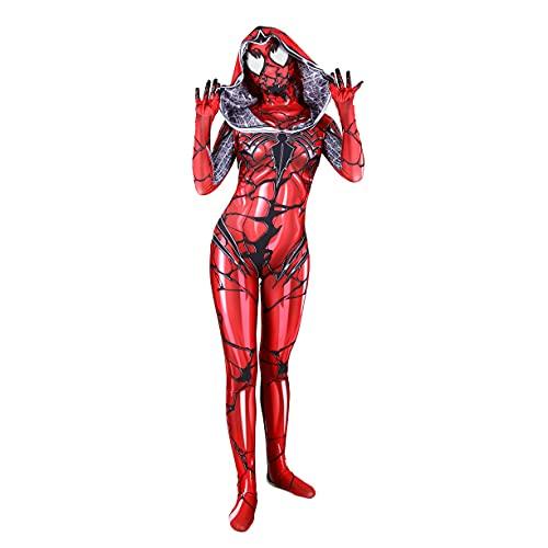 FMBK666 Disfraces de Veneno Rojo, Mono de Mujer araa, Mono de Juego elstico para nias, Fiesta de Halloween, Disfraz de Cosplay, Traje de Licra, Baile Escolar