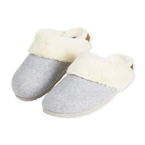 Dunlop Zapatillas Mujer, Zapatillas Casa Mujer con Forro Polar, Pantuflas Mujer Suela de Goma Antideslizante, Regalos para Mujer y Adolescentes Talla 36-41 (Gris, Numeric_40)