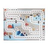 ZQO Mapa de Alfombrillas de Juguete Mapa de Estacionamiento para Niños Toy Car Play Snow Urban Road Impermeable Plegable Niños Traffic Parking Lot Map