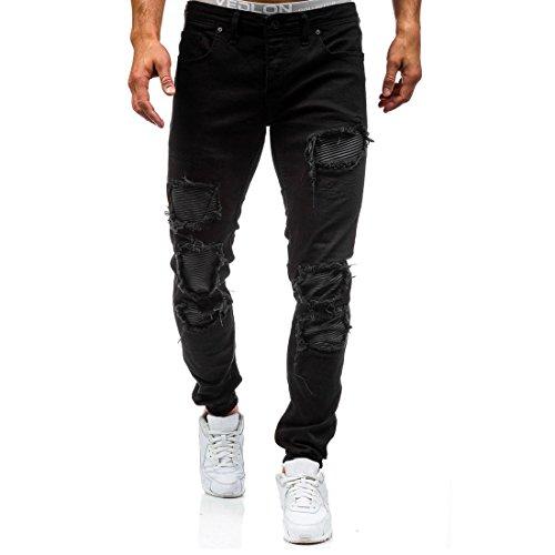 AOWOFS heren jeans Destroyed jeansbroek regular Fit denim strech jeans broek blauw zwart