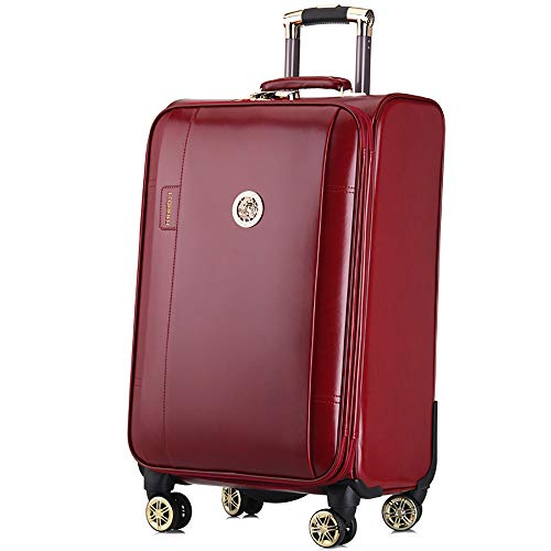 YASB Business Password Zipper Suitcase, Universal Wheel Wear-Resistant Suitcase, Waterproof, Aluminum Alloy Rod,Red,M