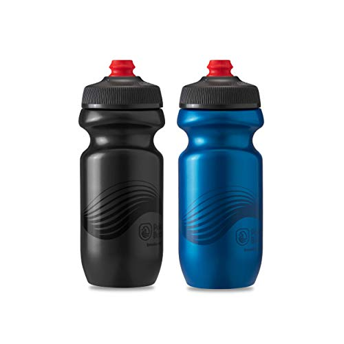 Polar Bottle 2 Pack Breakaway Wave Insulated 20 Oz Water Bottle - Charcoal/Black and Deep Blue/Charcoal Combo - Lightweight, BPA Free, Cycling & Sports Squeeze Bottle with High Flow, Self-Sealing Cap