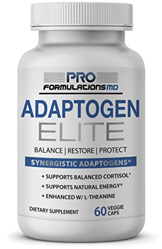 Adaptogen Elite – Synergistic Adaptogen Blend – 60 vcaps – Supports Balanced Cortisol & Natural Energy – Enhanced with Rhodiola, Ashwagandha, Astragalus, Schisandra, Eleuthero, Ginseng & L–Theanine