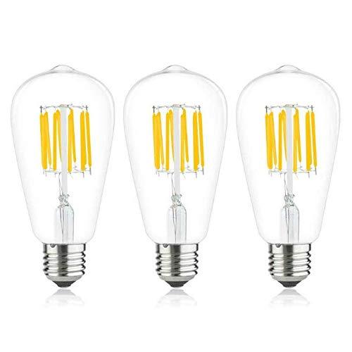 Luxvista 10W E27 ST64 Bombilla de Filamento LED, Luz Retro Vintage Estilo Edison Decorativa Lámpara, Casquillo Gordo E27 LED Transparente, Suave Luz Blanco Frío 6000K, 3-Unidades