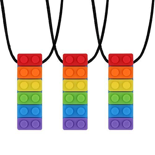 You&Lemon 3 Stück Baby Kauen Halskette, Silikon Beißring Anhänger, Zahnen Spielzeuge, Regenbogen Kauspielzeug für Jungen und Mädchen mit Autismus und ADHS