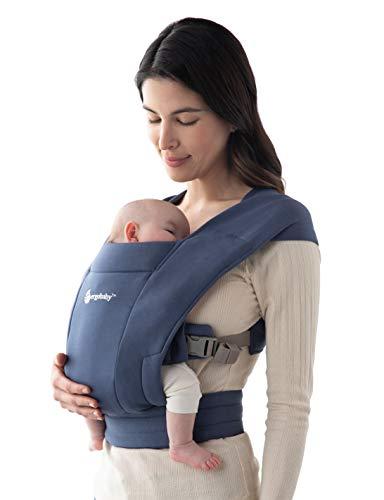 Ergobaby Embrace Babytrage für Neugeborene ab Geburt Extra Weich, Bauchtrage Baby-Tragetasche Ergonomisch, Soft Navy