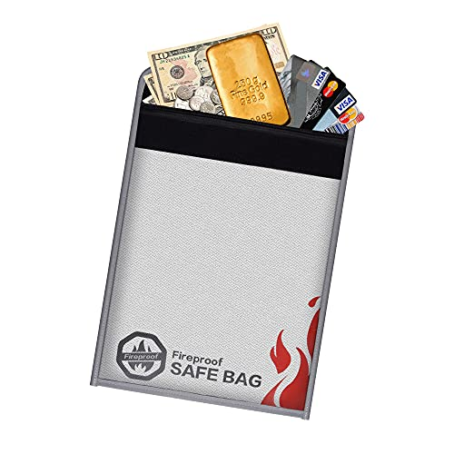 Fireproof Document Bag - 2020 Upgraded Waterproof Money Pouch Envelope with Zipper - Fire Safe Document Bag for Ipad, Cash, Documents, Jewelry and Passport (2 Pack)