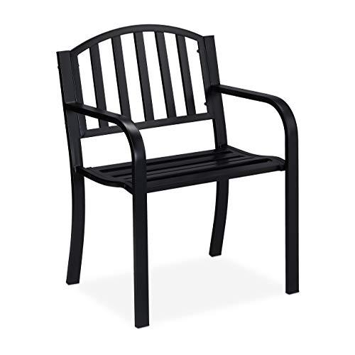 Relaxdays Gartenstuhl, moderner Gartensessel mit Armlehnen, Stahl mit Premium Rostschutz, HBT 82 x 60 x 48,5 cm, schwarz