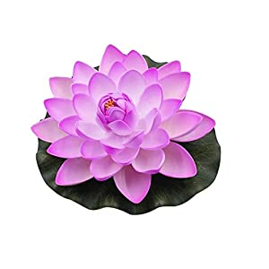 qiguch66 Artificial Flower for Decoration, Artificial Lotus Flower Fake Floating Water Lily Garden Pond Fish Tank Decor – Light Purple
