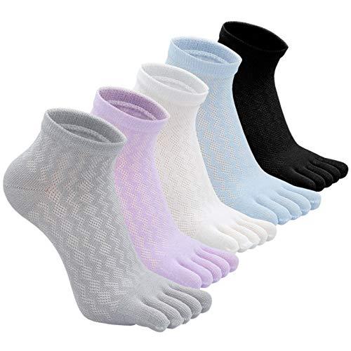 PUTUO Mujer cinco dedos calcetines de deporte, Calcetines de dedos mujer calcetines de algodón, suave y transpirable, EU36-42, 5 pares