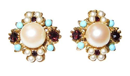 Dekorative Ohr-Clips weiße Perlen rote Granat-Steine kleine Türkise vergoldet Edelstein-Mix Handarbeit Unikat Italien Geschenk Frauen Luxus hochwertig