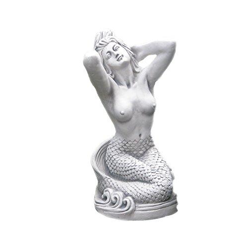 gartendekoparadies.de Massive Statue Steinfigur Nixe Meerjungfrau Farbe grau aus Steinguss frostfest