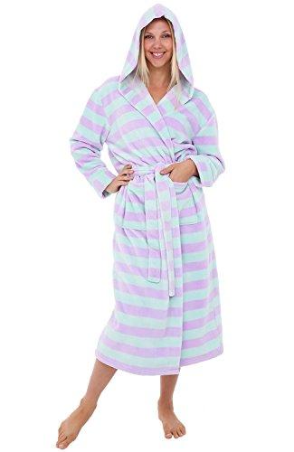 Alexander Del Rossa Women's Plush Fleece Robe with Hood, Warm Bathrobe 1X-2X Green and Purple Striped (A0116P112X)