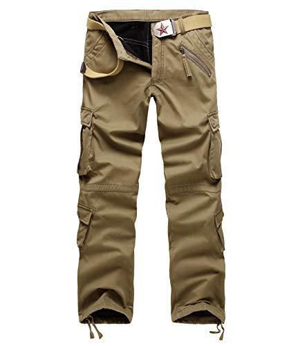 AOYOG Thicken Mens Winter Fleece Lined Cargo Pant Windproof Work Pants(Khaki),40W33L