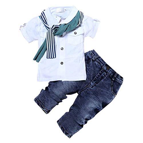 MYGBCPJS Conjunto de 3 piezas de camisa a cuadros + camiseta + tirantes de Jean, Blanco, 4 Años
