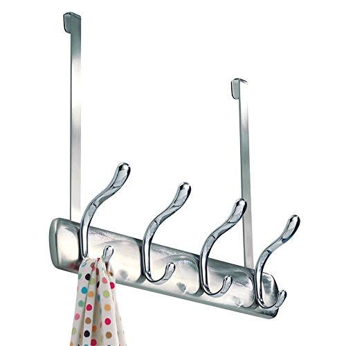 """iDesign Bruschia Metal Over the Door Hanging 4-Hook Rack for Coats, Hats, Robes, Towels in Bathroom, Bedroom, Dorm, Entryway, 13"""" x 4.42"""" x 11.25"""", Brushed Nickel and Chrome"""