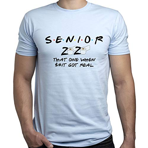 EUGINE DREAM Senior Friends TV Show CoronaVirus t Shirt Camiseta para Hombre Azul Claro M