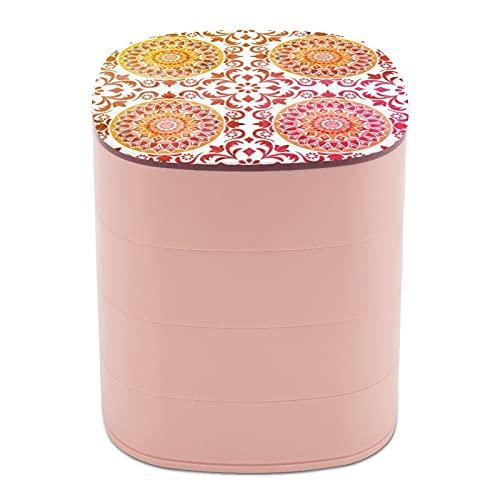 Rotar la caja de joyería, caja de almacenamiento de joyas de 4 capas, rotación de 360 grados, caja creativa para anillos, pendientes, collar, broche, baratijas, diseño de mandala, rojo y amarillo boho