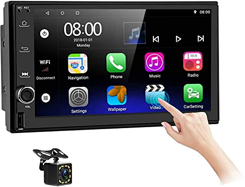 Radio de Coche con Sistema Bluetooth - 7 'HD con Pantalla táctil de Doble DIN Android Radio de Coche Compatible con Pantalla Dividida /GPS Navi /WiFi/Mirror Link/Cámara de visión Trasera/FM/USB/DVR