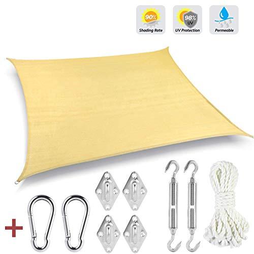 GOUDU Toldo Vela de Sombra Rectangular Toldo Vela IKEA Prevención Rayos UV Solar protección para Exteriores Patio, el jardín, protección UV - Beige 3x3m