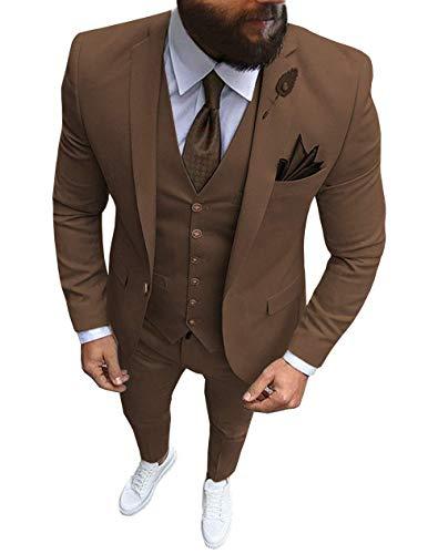 HOTK Hombre Sólido 3 Piezas Slim Fit Un botón Esmoquin de Novio Trajes de Negocios Formales