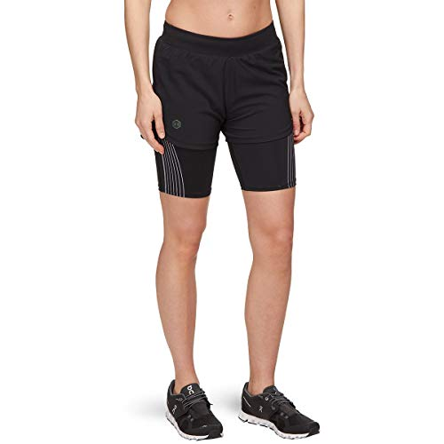Under Armour Damen Rush Run 2-in-1 Shorts L Schwarz/Schwarz/Reflektierend (001)