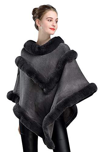 BEAUTELICATE Chal Piel Sintética Poncho Capa de Punto Mujer Estola Jersey con Cuello de Piel para Bodas Invierno Navidad Partido