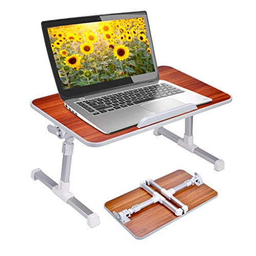 Neetto Laptop Height Adjustable Bed Table, Portable Lap Desk with Foldable Legs, Breakfast Tray for Eating, Notebook Computer Stand for Reading Writing on Bed Couch Sofa Floor - American Cherry
