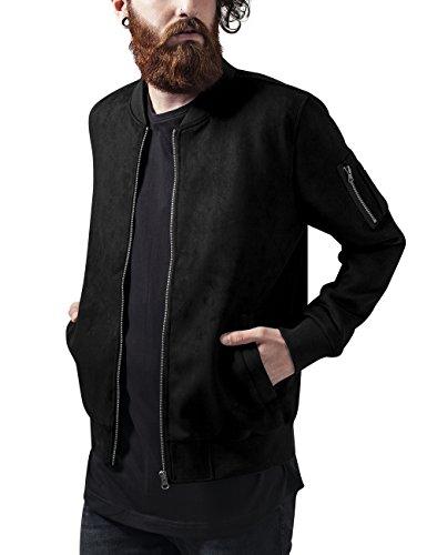 Urban Classics Herren Imitation Suede Bomber Jacket Jacke, Schwarz (Black 7), X-Large