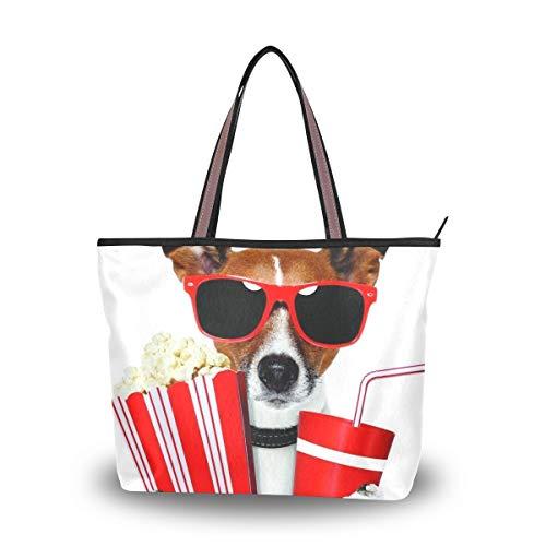 LORONA bolsa de mano de lona para mujer con diseño de perro y soda y palomitas de maíz de gran capacidad