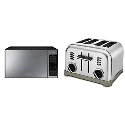 Samsung MG14H3020CM 1.4 cu. ft. Countertop Grill Microwave Oven with Ceramic Enamel Interior, Black Mirror Finish & Cuisinart CPT-180P1 Metal Classic 4-Slice toaster, Brushed Stainless