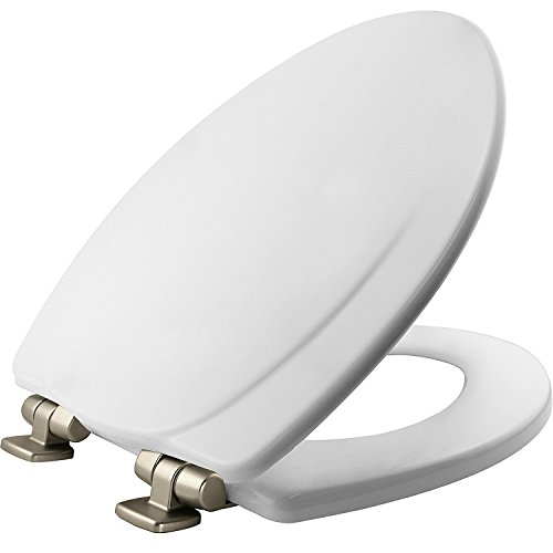 MAYFAIR 1830NISL 000 Marion Toilet Seat with Brushed Nickel Hinges will Slow Close and Never Come Loose, ELONGATED, Durable Enameled Wood, White
