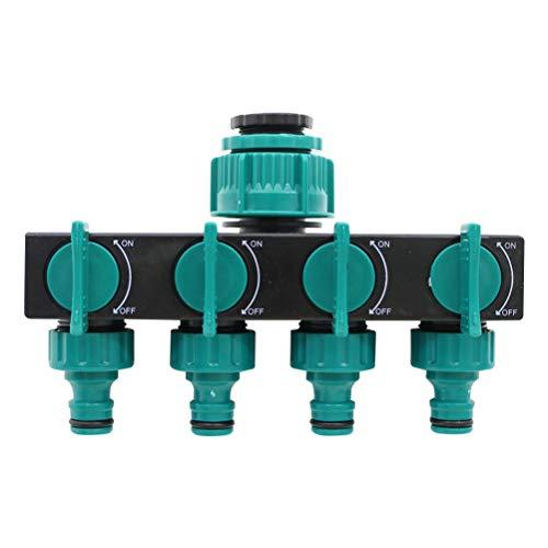 Fyeep 4-weg verdeler, tuinslang buis splinter waterdoorstroming regelbaar en afsluitbaar, optimale waterkraan-verdeler voor gebruik meerdere aansluitingen, slangverdelers voor tuin irrigatie