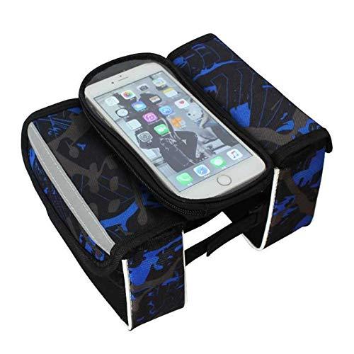 yijiang Nueva Bolsa de sillín de Bicicleta Bolsa de Bicicleta Impermeable MTB MTB Frame Bag Inch Pantalla Táctil Teléfono Holders Saddle Bag Accesorios (Color : Blue)
