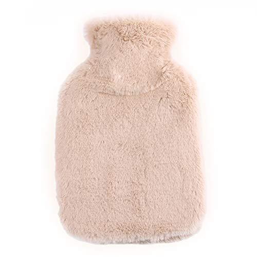 QKFON Botella de agua caliente, de PVC con cubierta de felpa, bolsa de agua caliente clásica con cubierta de forro polar suave, calentador de pies para aliviar el dolor de cuello