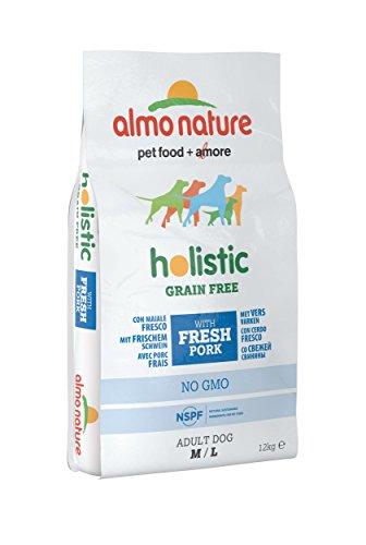 almo nature Holistic Grain Free M-L con Maiale Fresco - crocchette Premium per Cani Adulti con Carne Fresca - specifico per Cani di Taglia Medium/Large - Privo di Cereali - No OGM - Sacco 12kg