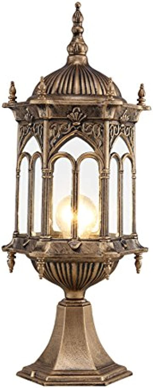 Wasserdichte Garten Lampe, Outdoor Retro Villa Gartenleuchten Sule Lampe Wandleuchte Landschaft Lichter Rasen Licht Einzigen Kopf E27, Hohe 38-51 CM ( Farbe   Messing- 1 )