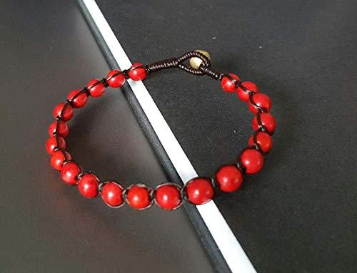 Coral rojo natural cuentas lisas de forma redonda de 4 mm enhebradas con pulsera shamballa de hilo de color marrón para hombres y mujeres. Regalo para él / ella, curación, prosperidad.