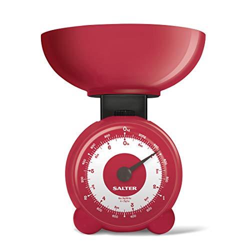 Salter Mechanische keukenweegschaal, bolvorm, snel, nauwkeurig en betrouwbaar, voor het gewicht van levensmiddelen, gemakkelijk af te lezen, vaatwasserbestendig, zonder knoppen en batterijen, blauw