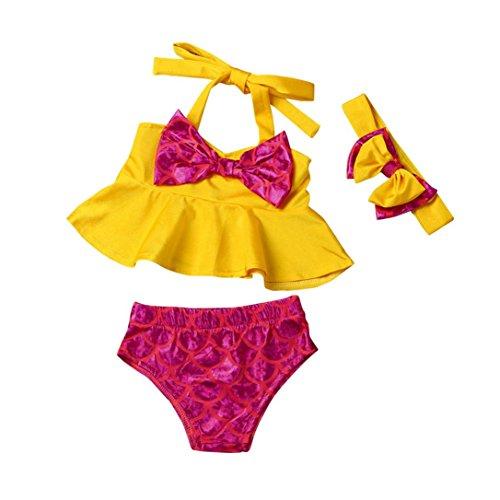 3PCS/Set Baby Bikini Suit,Matoen Girl Top Briefs Headband Swimsuit Swimwear (0-6 months)