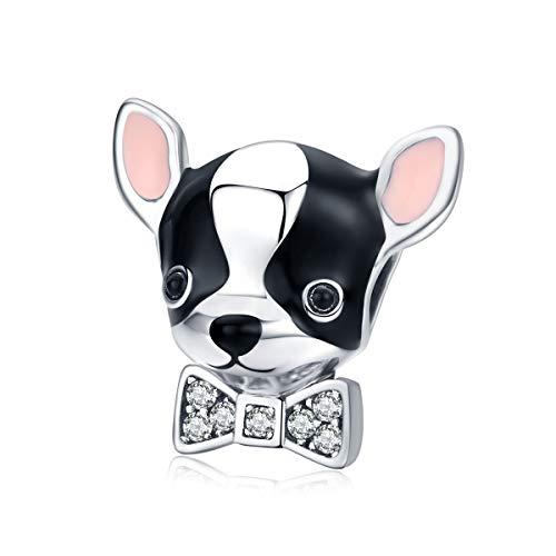 Abalorio de perro chihuahua de Ningan con lazo de cristal de plata...
