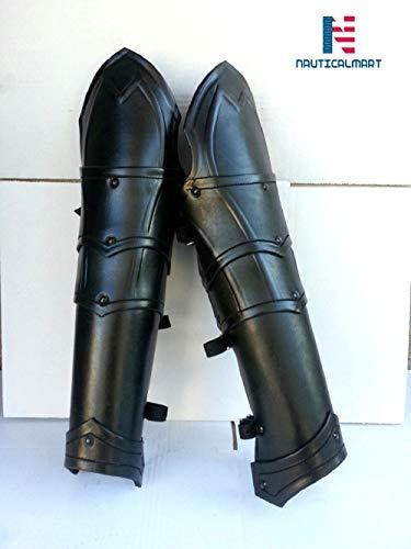 NauticalMart Medieval Leather Dark Elf Greaves Leg Armor/LARP Fantasy Elven Armor/Leg