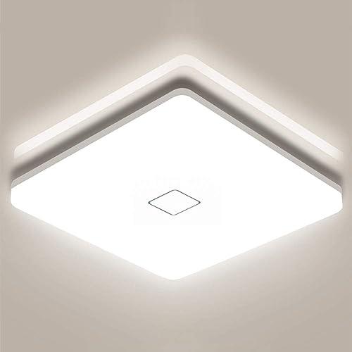 Plafonnier LED 18W Airand, Luminaire Plafonnier 4000K Blanc Naturel IP44 Étanche Plafonnier Salle de Bains 1800LM Pla...