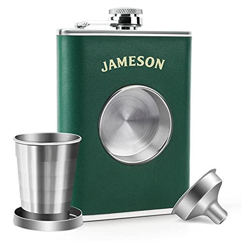 KWANITHINK Hip Flasks for Men, Stainless Steel Leather Hip Flask 8 oz Built...
