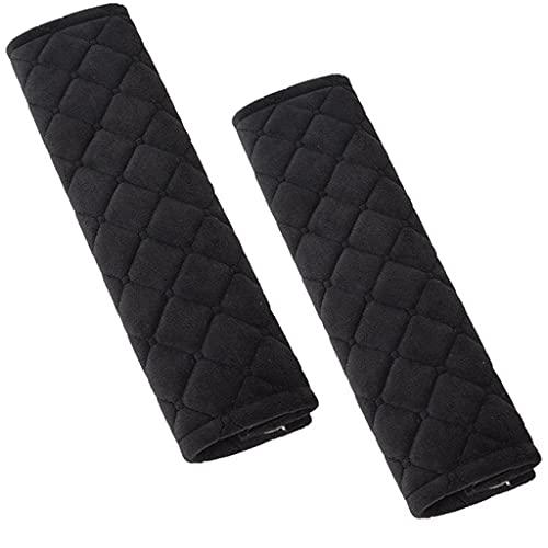 Conruich 2 almohadillas acolchadas para cinturón de seguridad de coche, superficie de terciopelo suave, desmontables, para niños y adultos, color negro