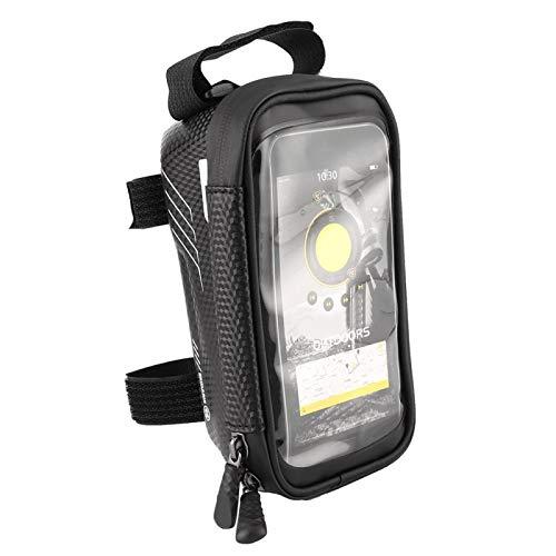 Bolsa de manillar a prueba de golpes Buen rendimiento de sellado con gancho ajustable accesorio de bicicleta para montar en carretera (negro)