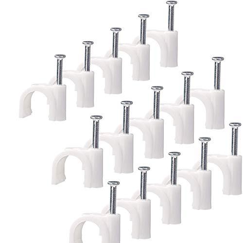 Nagelschelle Kabelschelle 8mm 100 Stück, weiß Haftclips mit Nagel
