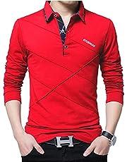 [スリージョイ] 5カラー M~2XL ポロシャツ 長袖 トップス シンプル ゴルフウェア 襟付き カジュアル 春秋 メンズ
