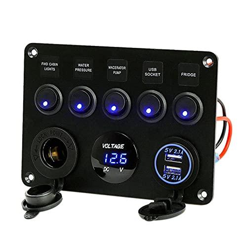 opamoo Pannello interruttori, Pannello interruttore a bilanciere 12V/24V ON-OFF Interruttore a levetta Pannello di Controllo con 5 interruttori a LED doppia presa USB per accendisigari per Auto, Barca